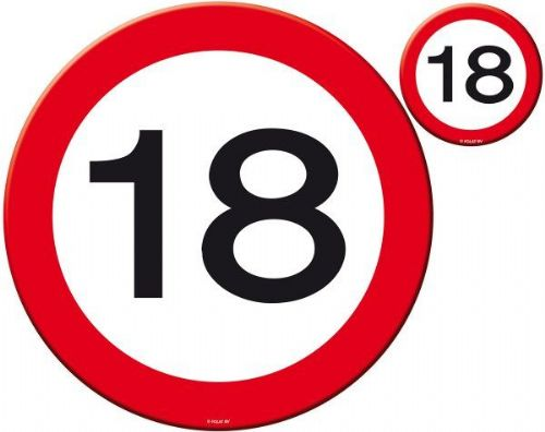 Traffic Sign 18th Party Place Mat & Coas Birthday Tableware Table Disposable